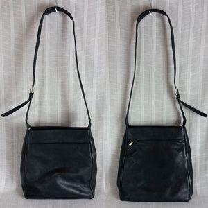 BREE Black Leather Crossbody Bag w flaw